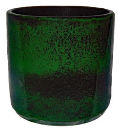 A large green cylinder