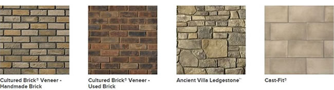 Pictures of different types of cultured stone including cobblefield and coral stone.