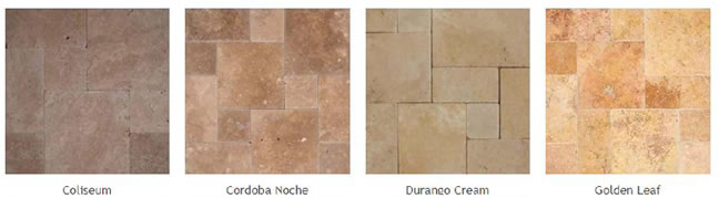 Pictures of some different types of travertine pavers.