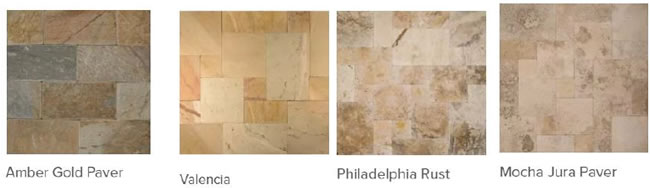 Pictures of different types of travertine pavers.