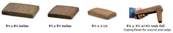 Different sizes of thin pavers