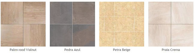 Pictures of some different types of the new porcelain pavers: Palmwood Walnut, Pedra Azul, Petra Beige, Prala Cream,