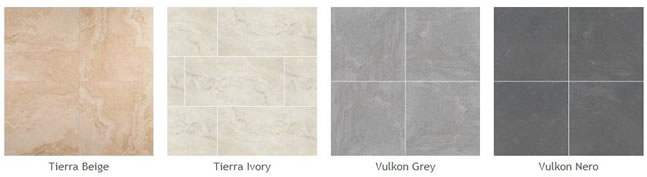 Pictures of some different types of the new porcelain pavers: Tierra Beige, Tierra Ivory, Vulkon Grey, Vulkon Nero.