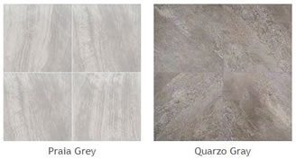 Pictures of some different types of the new porcelain pavers: Prala Grey, Quarzo Gray.