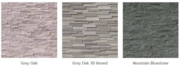Natural Stone Veneer Panels of different types: Gray Oak, Gray Oak 3D Honed, Mountain Bluestone.