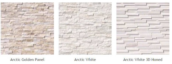 Natural Stone Veneer Panels of different types: Arctic Golden Panel, Arctic White, Arctic White 3D Honed.