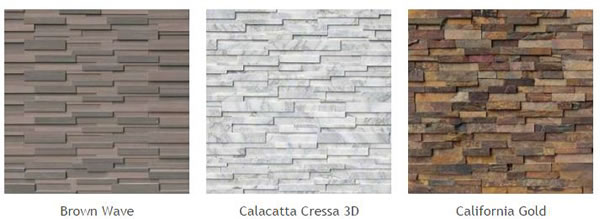 Natural Stone Veneer Panels of different types: Brown Wave, Calacatta Cressa 3D, California Gold.