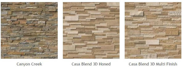 Natural Stone Veneer Panels of different types: Canyon Creek, Casa Blend 3D Honed, Casa Blend 3D Multi Finish