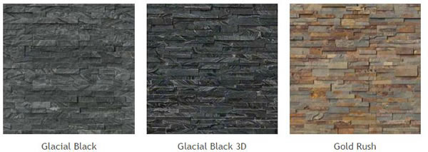 Natural Stone Veneer Panels of different types: Glacial Black, Glacial Black 3D, Gold Rush.